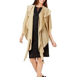 Cejon Double Draped Sparkle Knit Evening Wrap Gold